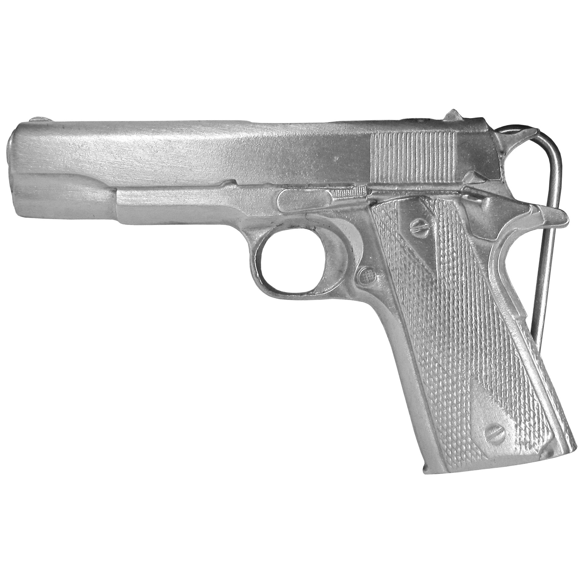 "Automotic Pistol Antiqued Belt Buckle - This belt buckle is an automatic pistol. This gun is made of exquisitely carved, fully cast metal with a standard bale that fits up to 2"" belts."
