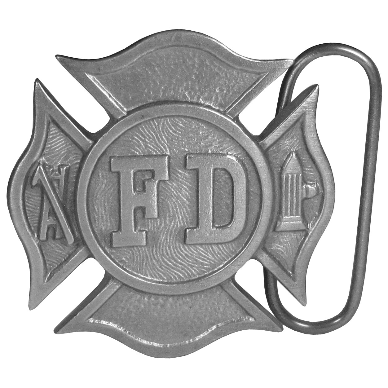 "Fireman's Cross Antiqued Belt Buckle - This belt buckle is dedicated to the Fire Department. It is shaped like a Maltese cross with ""FD"" in bold in the center. There is a fire hydrant and a pickaxe and ladder on each side. This exquisitely carved buckle is made of fully cast metal with a standard bale that fits up to 2"" belts."