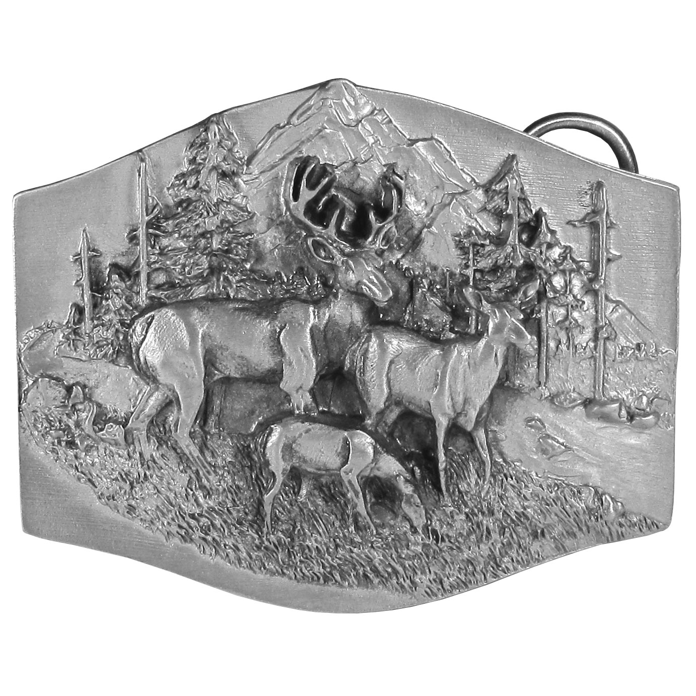 "Deer Family Antiqued Belt Buckle - ""This buckle celebrates deer. There are three deer, a buck, a doe and a fawn eating grass by a river with trees and mountains in the background. On the back is a little bit of information about deer. This exquisitely carved buckle is made of fully cast metal with a standard bale that fits up to 2"""" belts."""