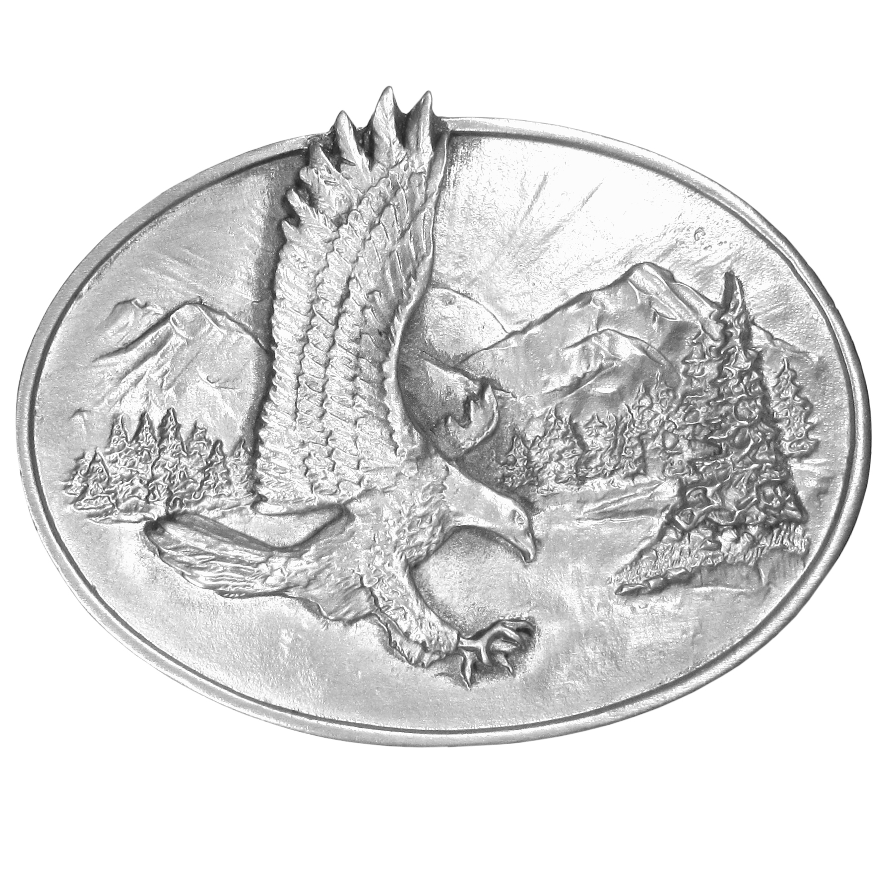 "Eagle Antiqued Belt Buckle - ""This oval buckle has a beautiful eagle with it's claws outstretched as if to capture prey.  In the background there are mountains, trees, a lake and the sunshine peeking above a mountain range.  This exquisitely carved buckle is made of fully cast metal with a standard bale that fits up to 2"""" belts."""