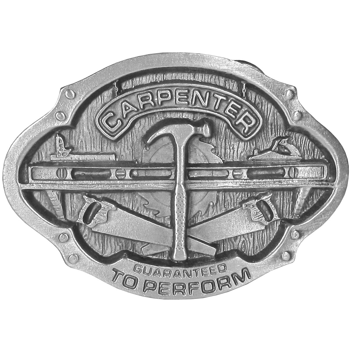 """Carpenters Antiqued Belt Buckle - This belt buckle is for the Carpenter! """"Carpenter"""" is written in bold with tools of the trade below. This exquisitely carved buckle is made of fully cast metal with a standard bale that fits up to 2"""" belts."""