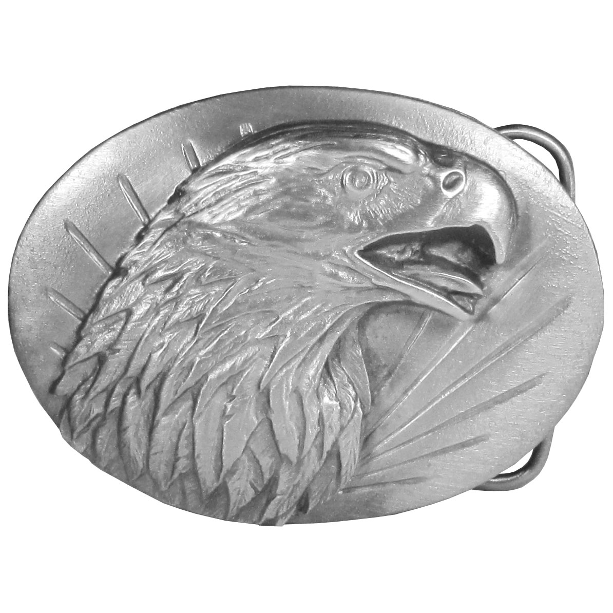 "Eagle Antiqued Belt Buckle - ""This belt buckle celebrates the eagle. On the front is the head of an eagle, on the back are the words, """"The eagle is one of the largest and most powerful birds in the world. The largest eagles are the golden and bald eagle. They weight as much as fourteen pounds and may have a wing span of over seven feet."""" This exquisitely carved buckle is made of fully cast metal with a standard bale that fits up to 2"""" belts."""