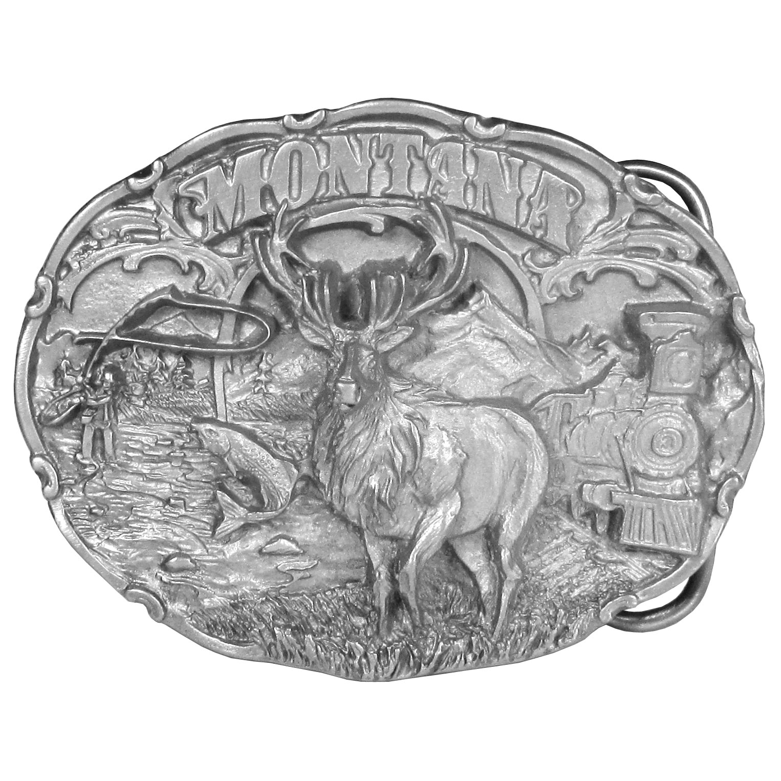 "Montana Antiqued Belt Buckle - ""This Montana buckle has the image of an elk front and center. It is surrounded by a person fly fishing in a river, grass, a mountain and a railroad car. On the back are the words, """"Montana became the 41st state on November 8, 1889. The state flower is the Bitterroot and the state bird is the Western Meadow Lark."""" This exquisitely carved buckle is made of fully cast metal with a standard bale that fits up to 2"""" belts."""