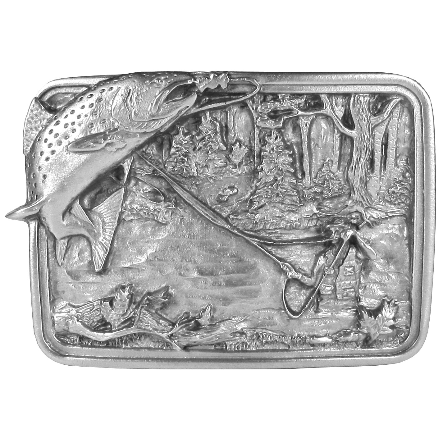 Fishing Antiqued Belt Buckle - This belt buckle celebrates fly fishing. It features a fish hooked on a rod held by a fisherman, who is in a river. Trees and plants surround the scene. Siskiyou's unique buckle designs often become collectors items and are unequaled with the best craftsmanship.