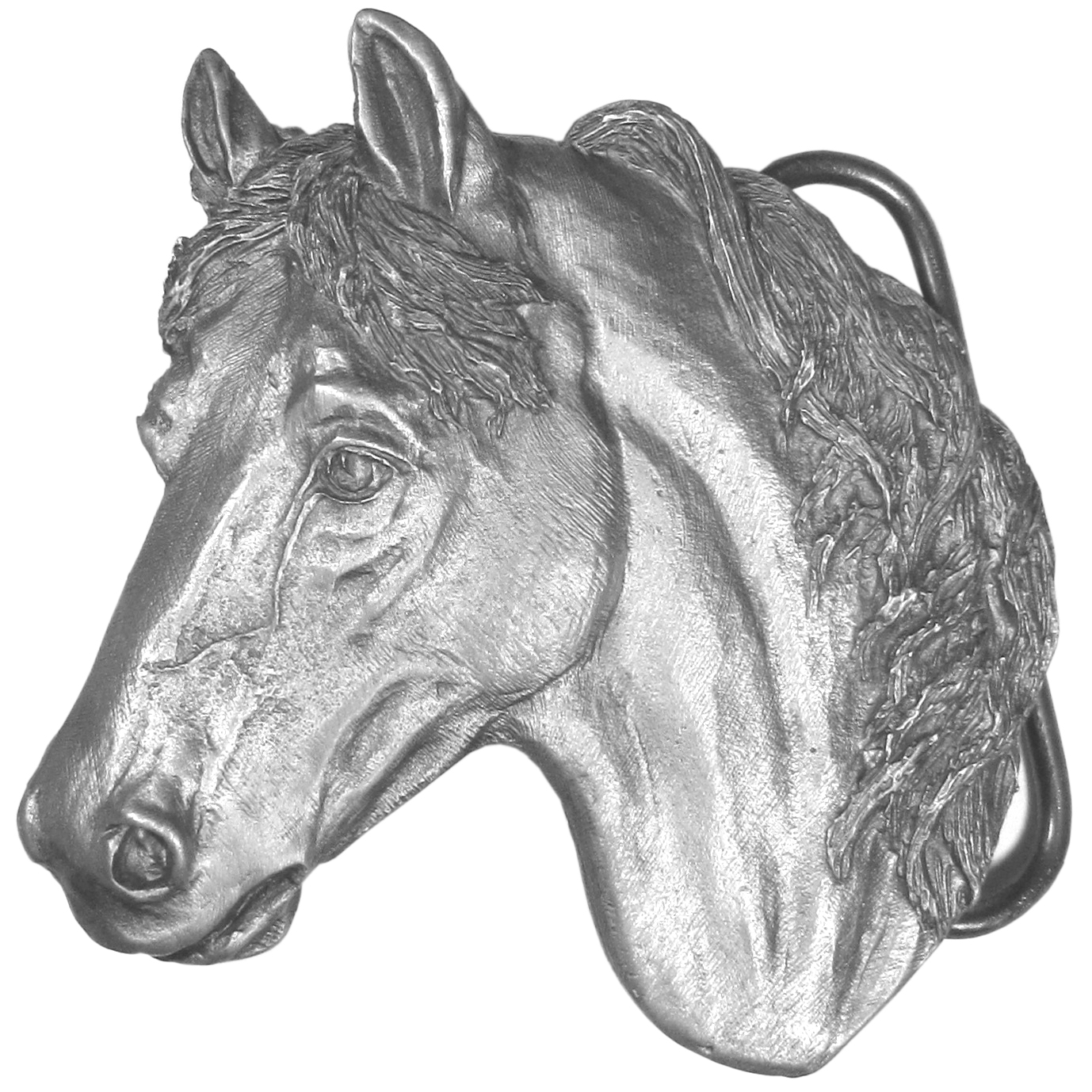 """Horse Antiqued Belt Buckle - """"For the horse lover, this buckle is shaped like a horse's head and has intricate detail. This beautiful buckle is made of fully cast metal with a standard bale that fits up to 2"""""""" belts. Siskiyou's unique buckle designs often become collectors items and are unequaled in craftsmanship. Made in the USA."""""""