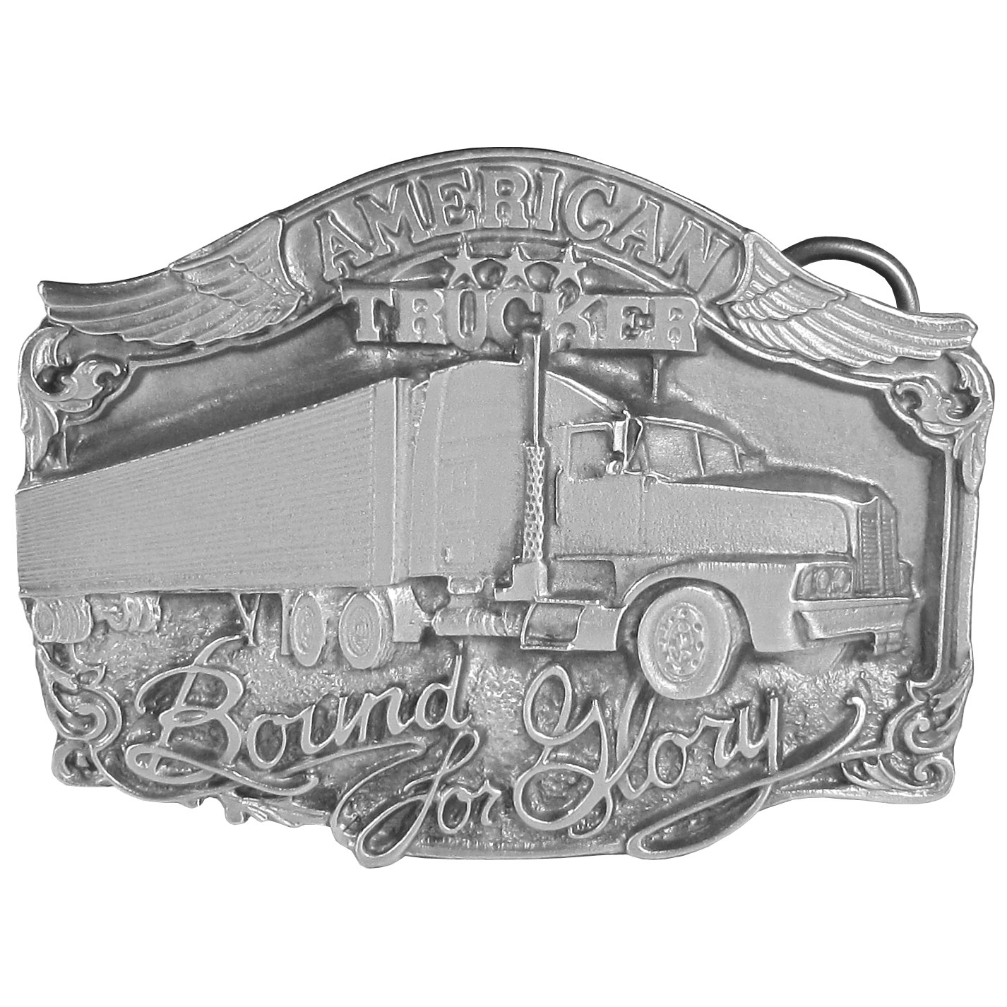 "American Trucker Antiqued Belt Buckle - This belt buckle celebrates the trucker. In bold are the words, ""American Trucker Bound for Glory"" with a semi truck in the center. On the back it says, The American Trucker… a 20th century cowboy, keeping America moving. This exquisitely carved buckle is made of fully cast metal with a standard bale that fits up to 2"" belts."