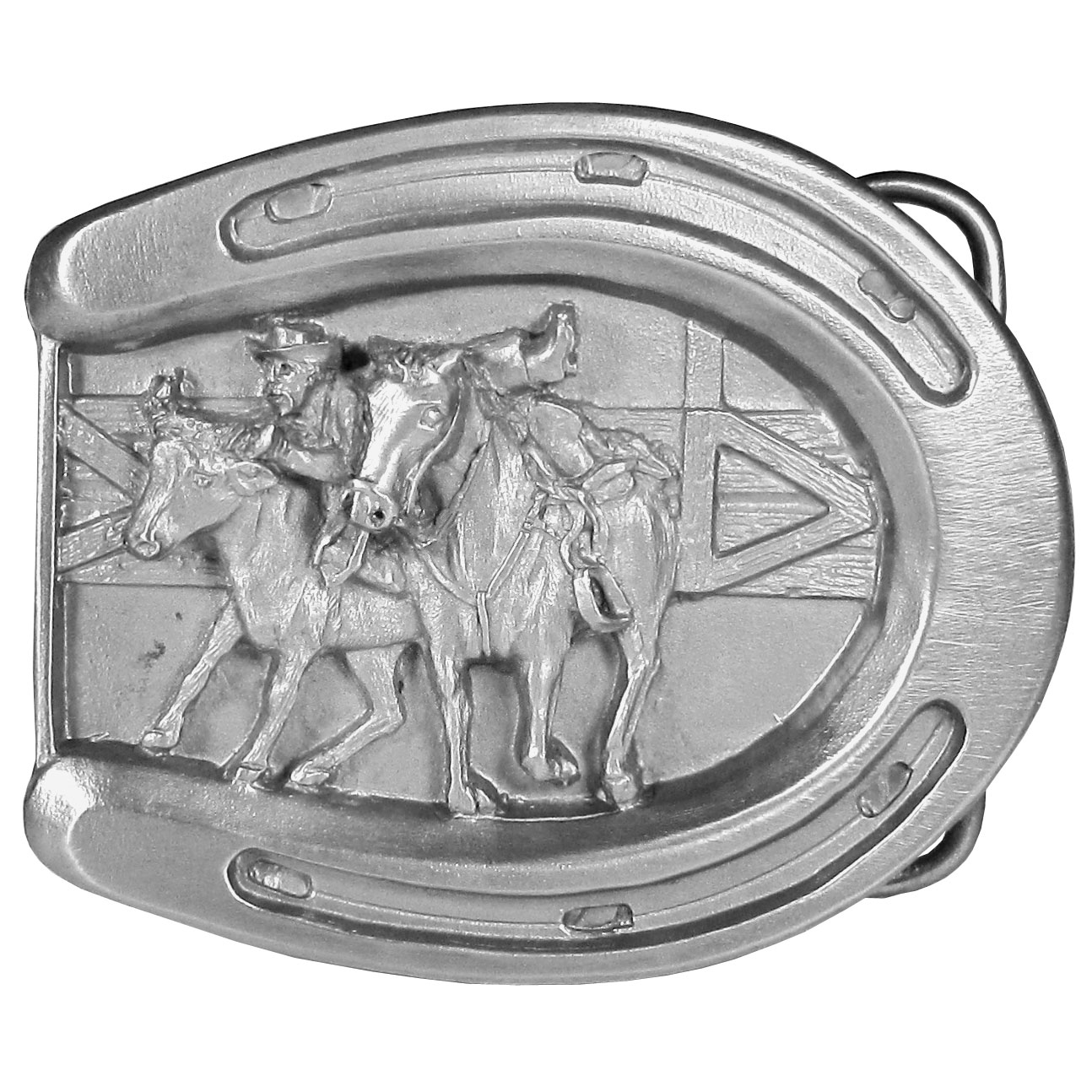 "Rodeo Bulldogging Antiqued Belt Buckle - This belt buckle celebrates Rodeo Bulldogging!  The buckle is in the shape of a horseshoe with a cowboy jumping from his horse to a steer in an arena. This exquisitely carved buckle is made of fully cast metal with a standard bale that fits up to 2"" belts."