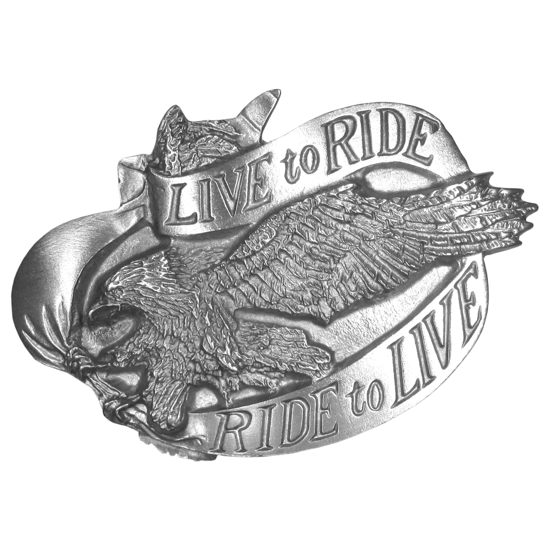 "Live to Ride Antiqued Belt Buckle - """"""Live To Ride, Ride to Live"""" is proudly written across this buckle. In the center of the banner is an eagle, soaring through the sky with his claws outstretched. This exquistely carved buckle is made of fully cast metal with a standard bale that fits up to 2"""" belts. Siskiyou's unique buckle designs often become collectors items and are unequaled with the best craftsmanship."""