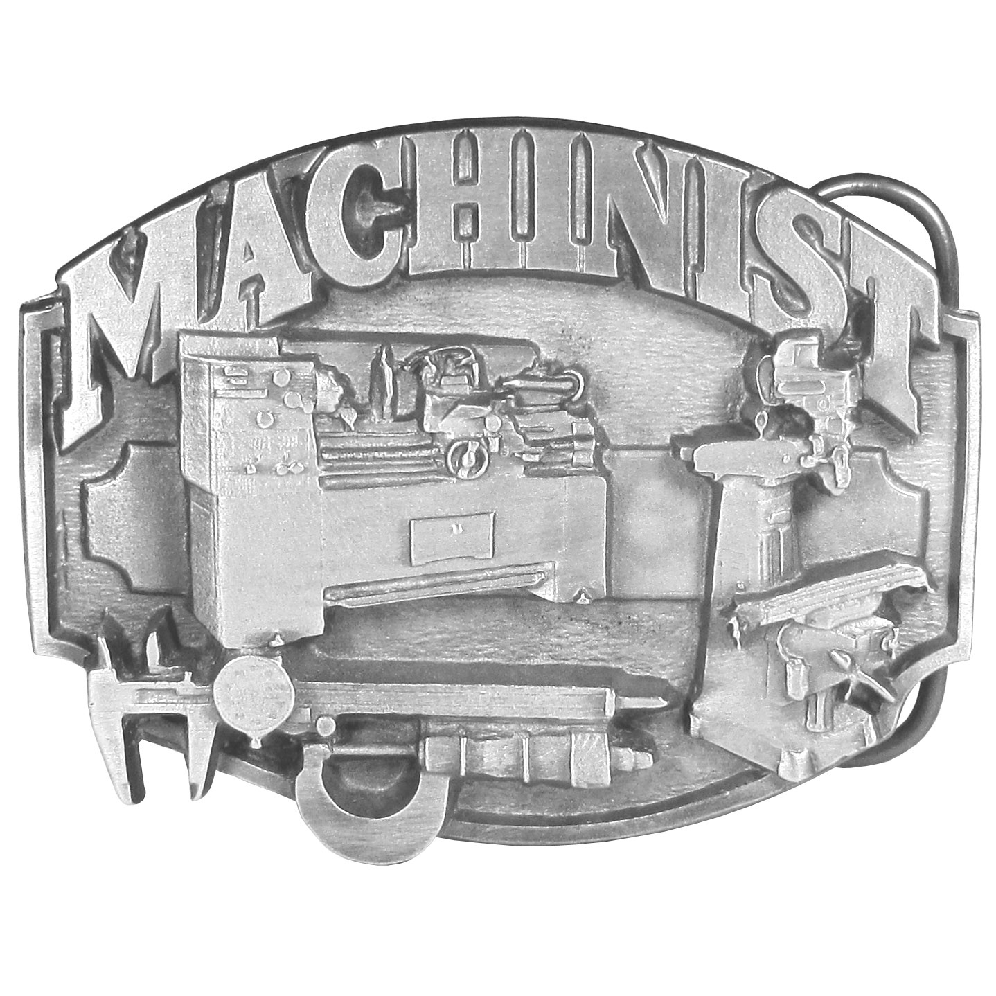 "Machinist Antiqued Belt Buckle - This belt buckle celebrates the machinist! ""Machinist"" is written in bold across the top with tools of the trade below. On the back are the words, Machinists are highly skilled people who play an important part in the manufacturing of almost all metal products. Modern society could not function without machinists and the work they do. This exquisitely carved buckle is made of fully cast metal with a standard bale that fits up to 2"" belts."