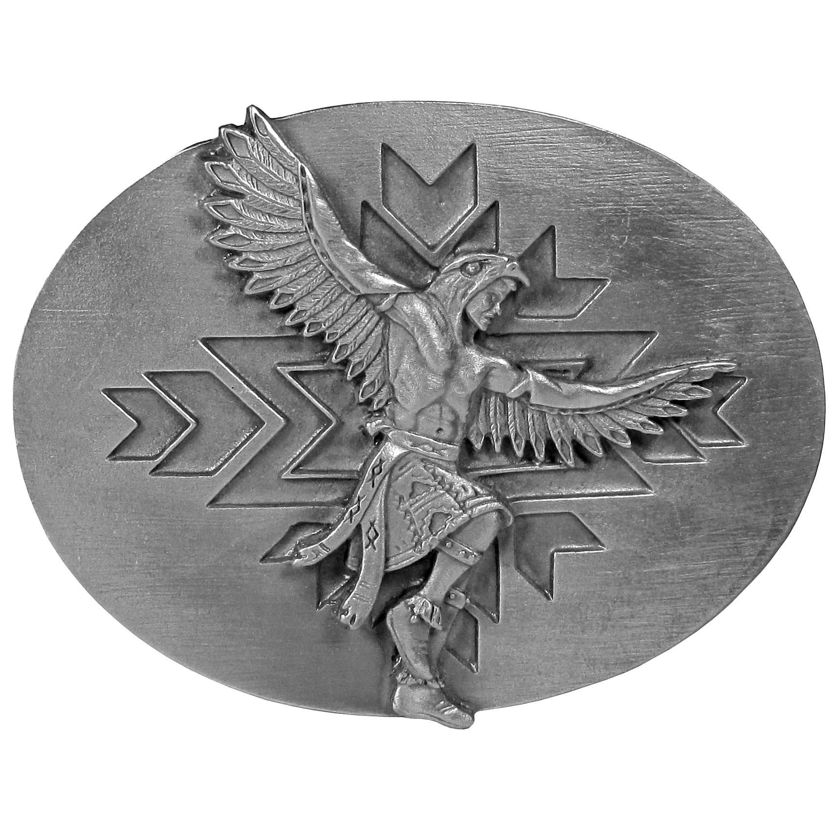"Indian Dancer Antiqued Belt Buckle - This exquistely designed buckle has an image of a Native American dancer with wings on his arms, in full costume.  In the background there is a Native American symbol. This beautiful carved buckle is made of fully cast metal with a standard bale that fits up to 2"" belts.  Siskiyou's unique buckle designs often become collectors items and are unequaled with the best craftsmanship."
