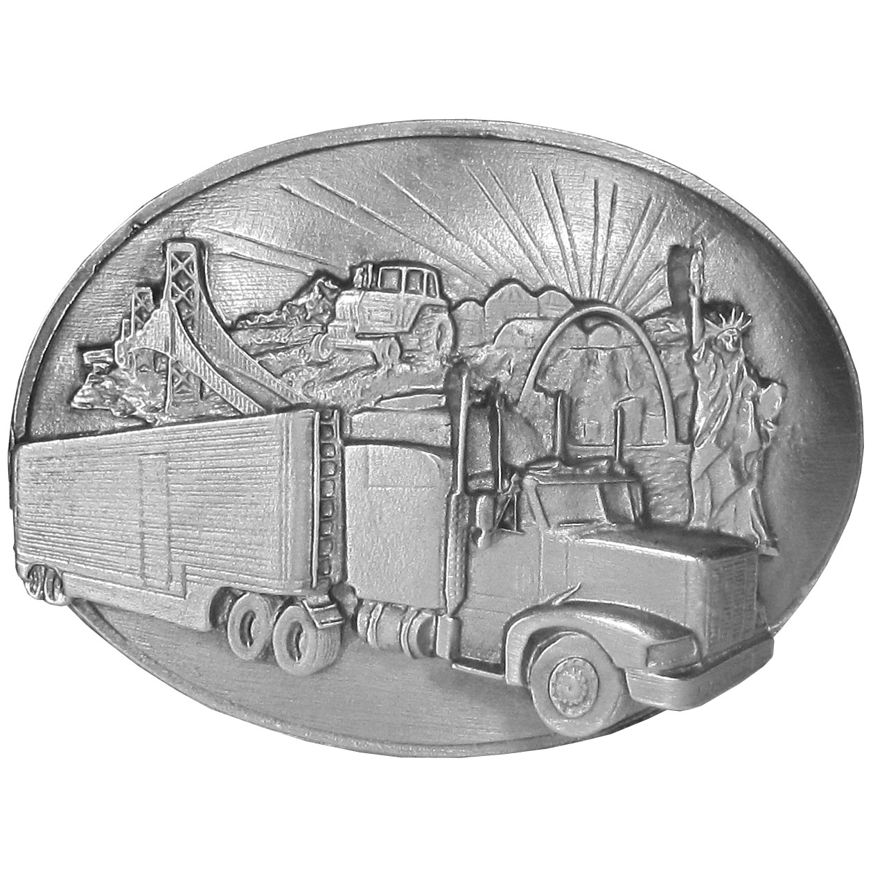 """Long Haul Trucker Antiqued Belt Buckle - This belt buckle is for the Long Haul Trucker! There is a long haul semi truck surrounded by scenes of America including the Statue of Liberty and the Golden Gate Bridge. This exquisitely carved buckle is made of fully cast metal with a standard bale that fits up to 2"""" belts."""
