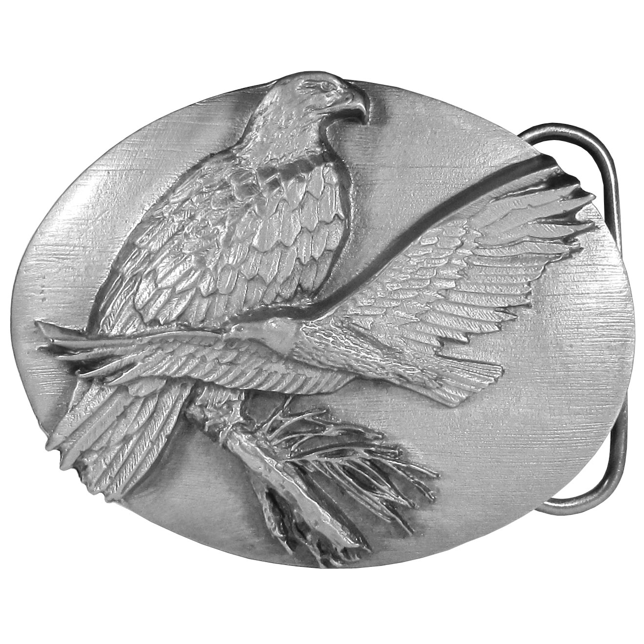 "Eagles Antiqued Belt Buckle - ""This belt buckle featues two eagles, one is perched on a branch, the other is soaring through the sky. On the back are the words, """"The eagle is a magnificent bird of prey. An eagle may have a wingspan of seven feet and weigh as much as fourteen pounds."""" This exquisitely carved buckle is made of fully cast metal with a standard bale that fits up to 2"""" belts."""