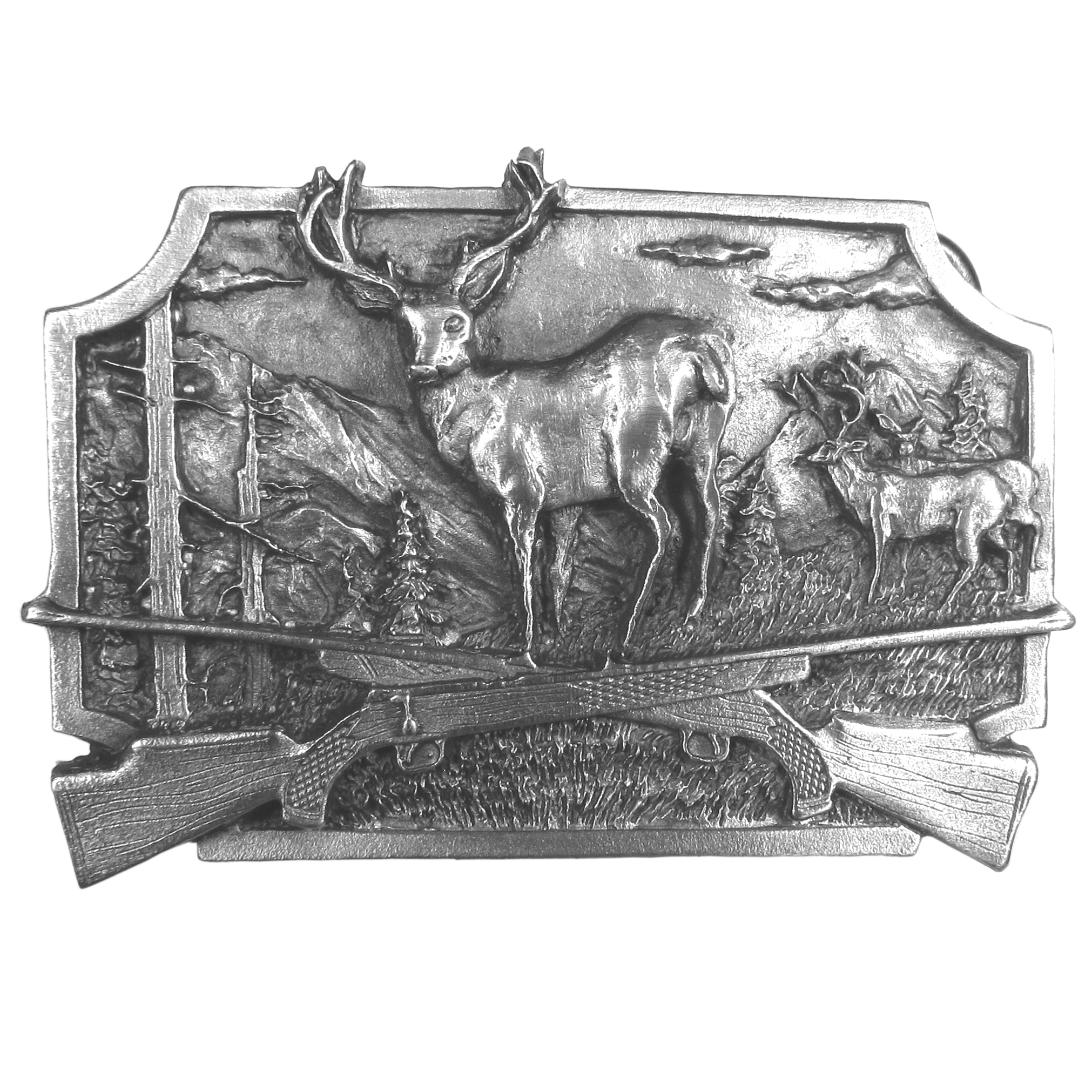 "Deer Hunting Antiqued Belt Buckle - ""A beautifully designed image of 3 deer, 2 bucks and a doe, are the highlight of this antiqued buckle.  Other images include two crossed rifles,  the mountains, field, trees, and clouds.  This exquisite carved buckle is made of fully cast metal with a standard bale that fits up to 2"""" belts.  Siskiyou's unique buckle designs often become collector's items and are unequaled in craftsmanship.  Made in the USA"""