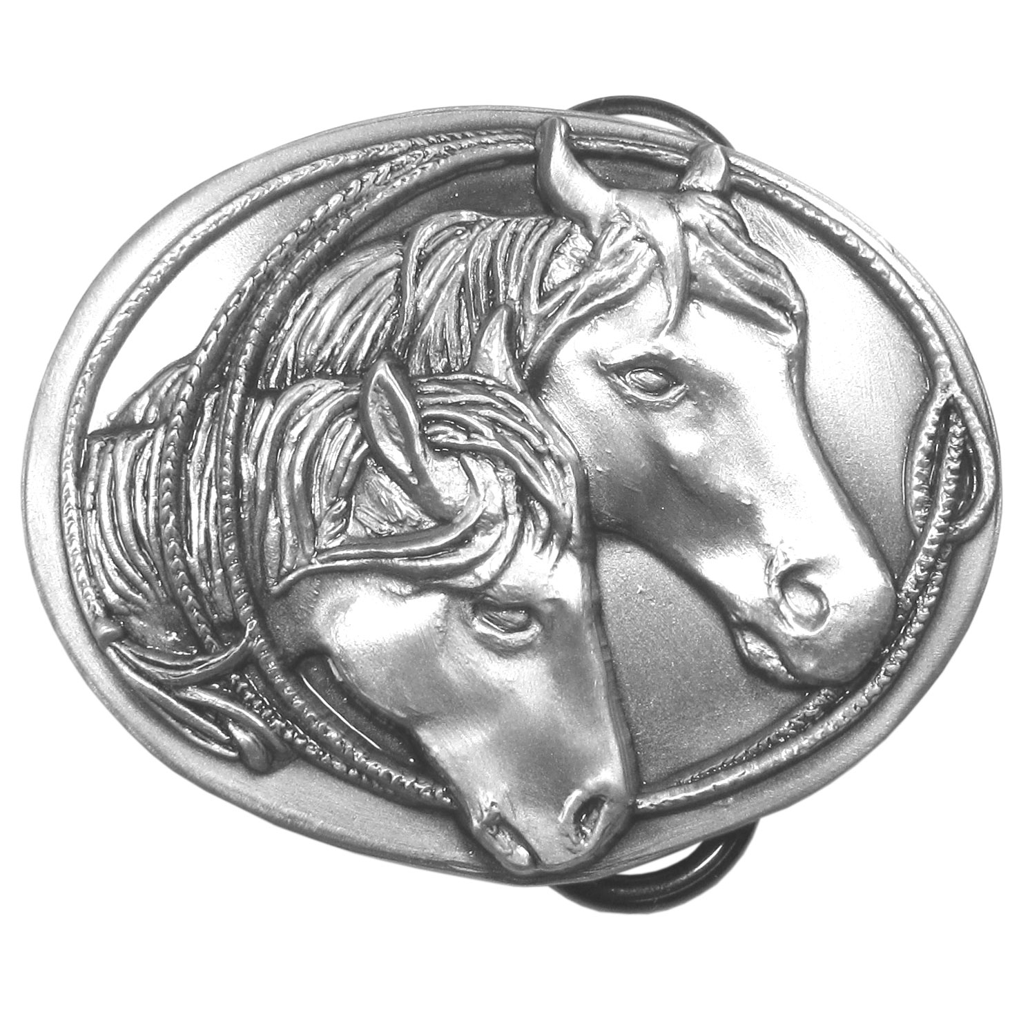"Horse Antiqued Belt Buckle - This exquistely carved, petite 2-1/4"" buckle features 2 horse heads and a lasso. This buckle is made of fully cast metal with a standard bale that fits up to 2"" belts. Siskiyou's unique buckle designs often become collectors items and are unequaled with the best craftsmanship."