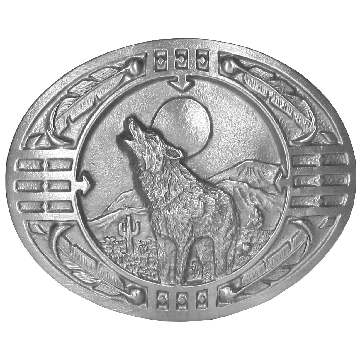 "Wolf Antiqued Belt Buckle - ""This belt buckle features a wolf howling at the moon with mountains, grass and cactus in the background and surrounded by feathers and Southwestern design.  This exquisitely carved buckle is made of fully cast metal with a standard bale that fits up to 2"""" belts."""
