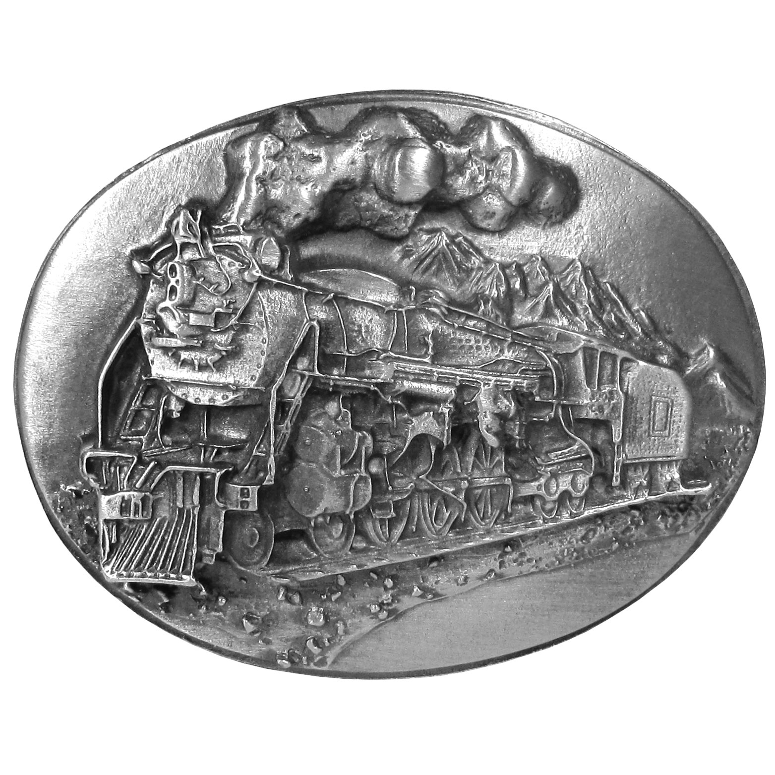 "Locomotive Antiqued Belt Buckle - ""This belt buckle features a steam locomotive travelling through the mountains. This exquisitely carved buckle is made of fully cast metal with a standard bale that fits up to 2"""" belts."""