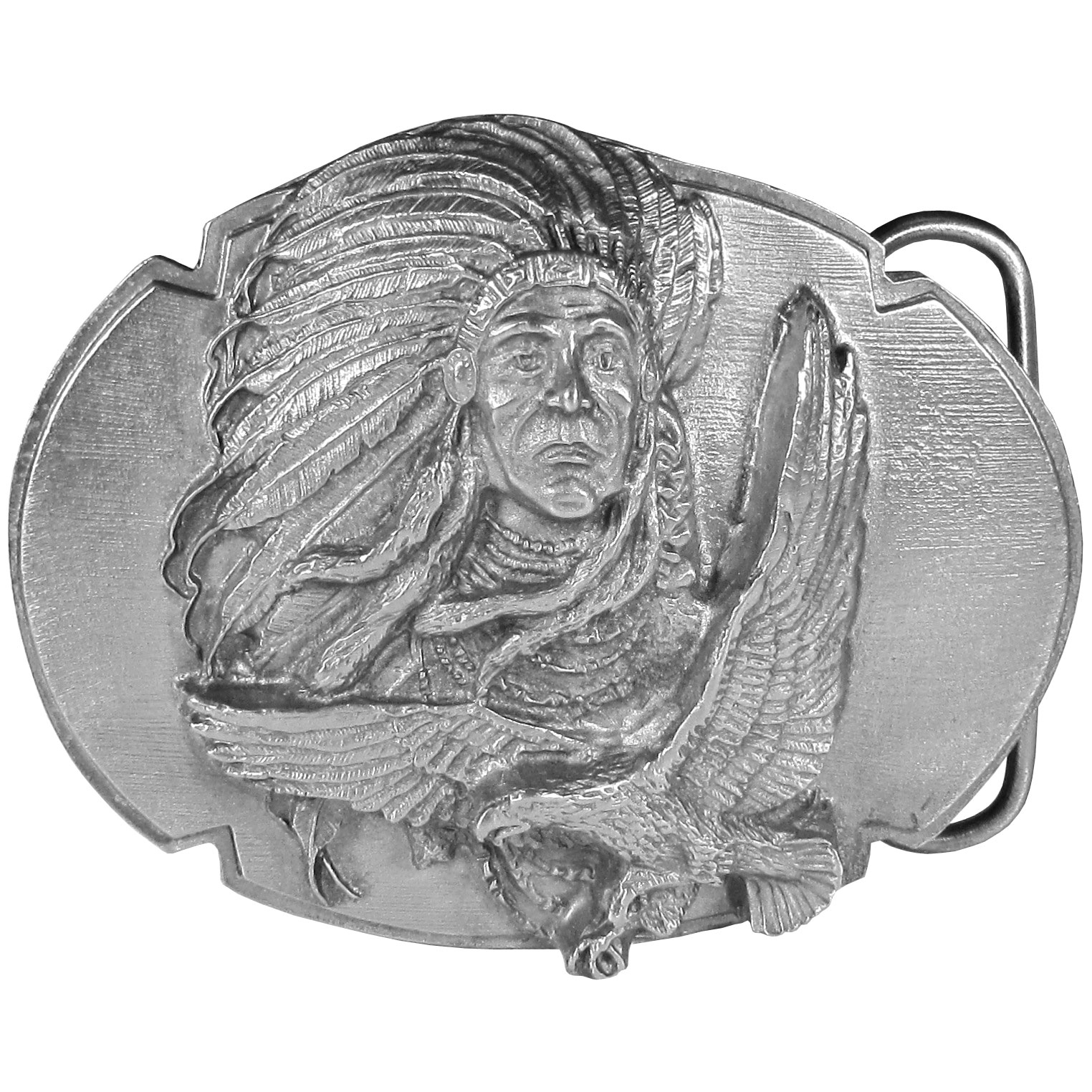 "Indian Chief Antiqued Belt Buckle - This belt buckle features the image of Chief Joseph in full headress with an eagle below. On the back are the words, All men were made by the same Great Spirit. They are all brothers. Chief Joseph 1878. This exquisitely carved buckle is made of fully cast metal with a standard bale that fits up to 2"" belts."