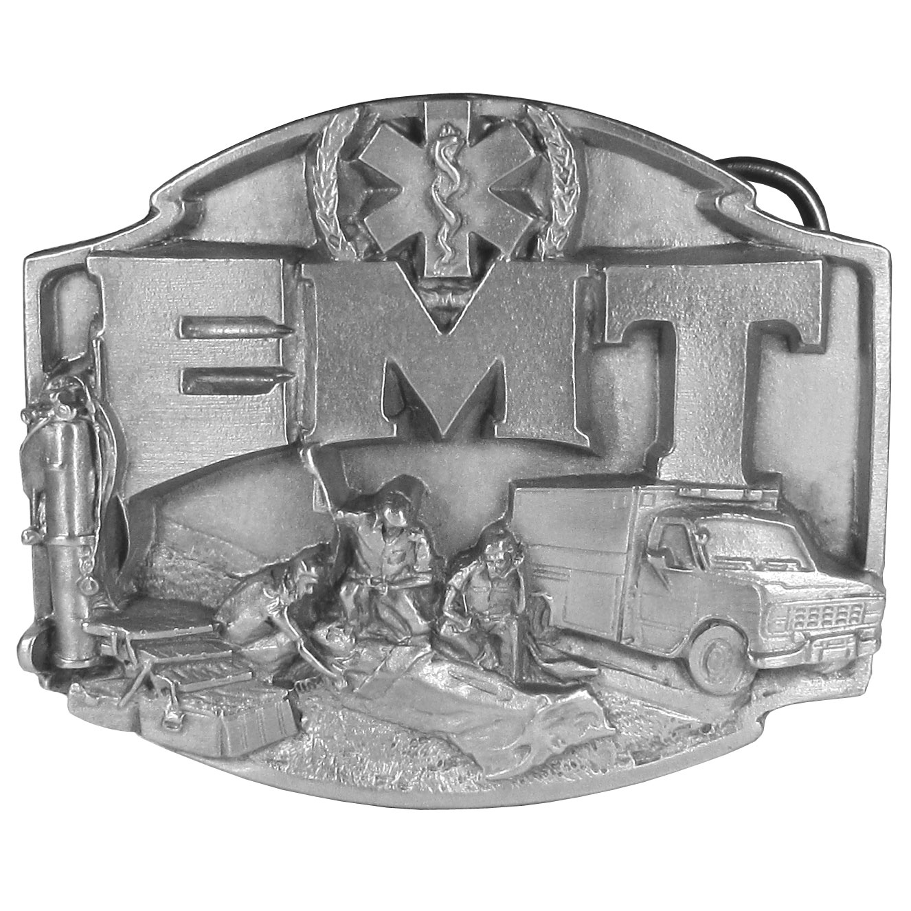 "EMT Antiqued Belt Buckle - ""This buckle is for the Emergency Medical Technician, it has an emergency vehicle, three EMT's tending to a patient, an oxygen tank, toolbox and and on the top is the Star of Life. On the back are the words """"EMT...First On The Scene"""". This exquisitely carved buckle is made of fully cast metal with a standard bale that fits up to 2"""" belts."""