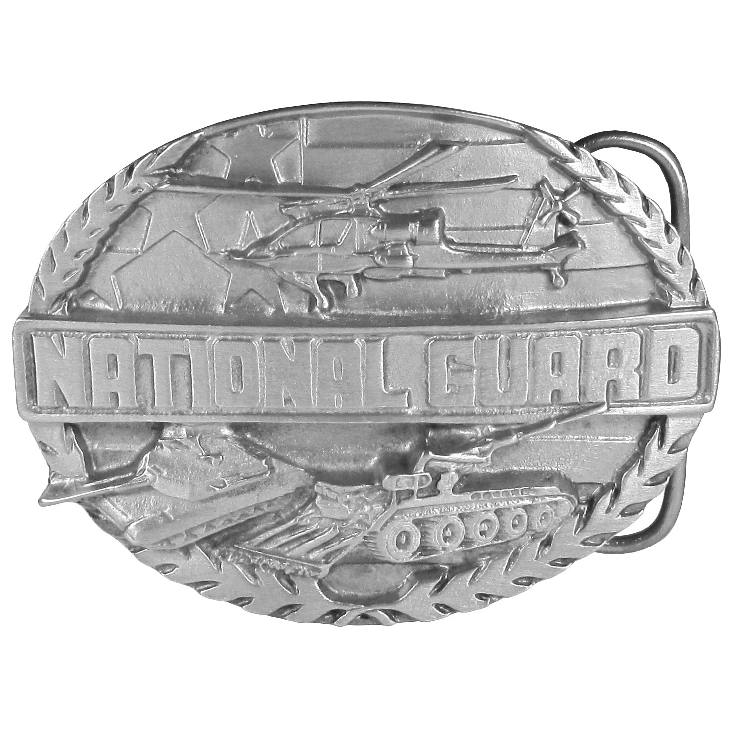 "National Guard Antiqued Belt Buckle - ""This buckle is to celebrate the National Guard. There is an American flag, a helicopter and two tanks on the front as well as """"National Guard"""" written in bold. On the back are the words, """"The men and women of the National Guard perform an invaluable service to the United States in national defense and community services."""" This exquisitely carved buckle is made of fully cast metal with a standard bale that fits up to 2"""" belts."""