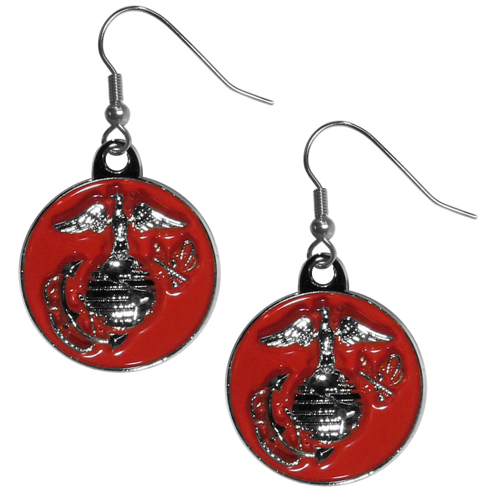 Marines Chrome Dangle Earrings - Our officially licensed chrome dangle earrings have fully cast Marines charms with exceptional detail and a hand enameled finish. The earrings have a high polish nickel free chrome finish and hypoallergenic fishhook posts.