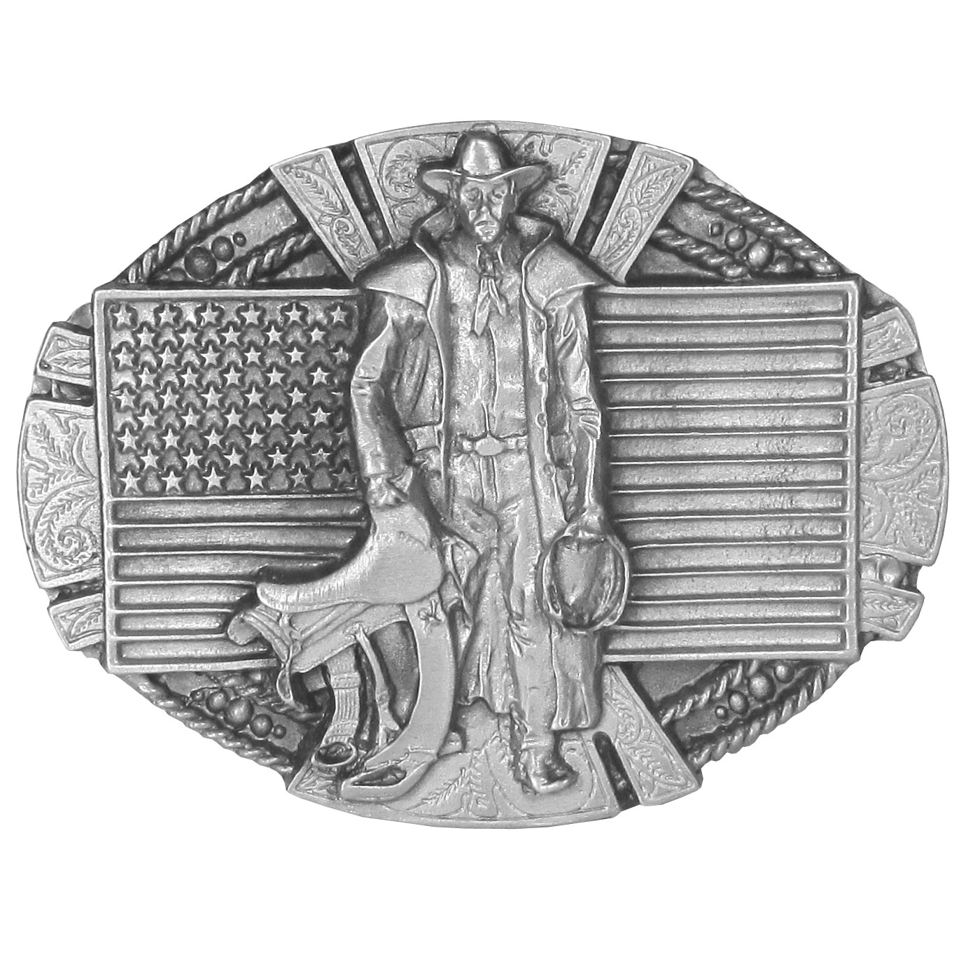 "American Cowboy Antiqued Belt Buckle - ""This buckle celebrates the cowboy.  On the front is a cowboy with a saddle and lasso in hand with an American flag, rope and Western design detail in the background.  This exquisitely carved buckle is made of fully cast metal with a standard bale that fits up to 2"""" belts."""