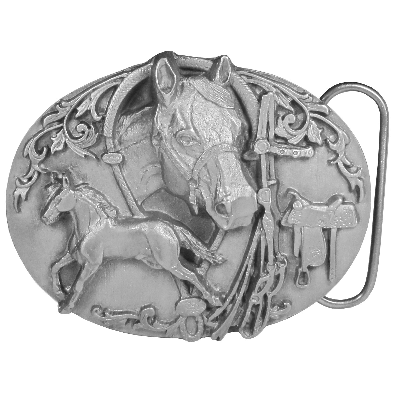 "Horses with Tack Antiqued Belt Buckle - ""This is for the horse lover! Belt buckle features a horse galloping, a horses head, a saddle and a bridle with bit and reins. This exquisitely carved buckle is made of fully cast metal with a standard bale that fits up to 2"""" belts."""