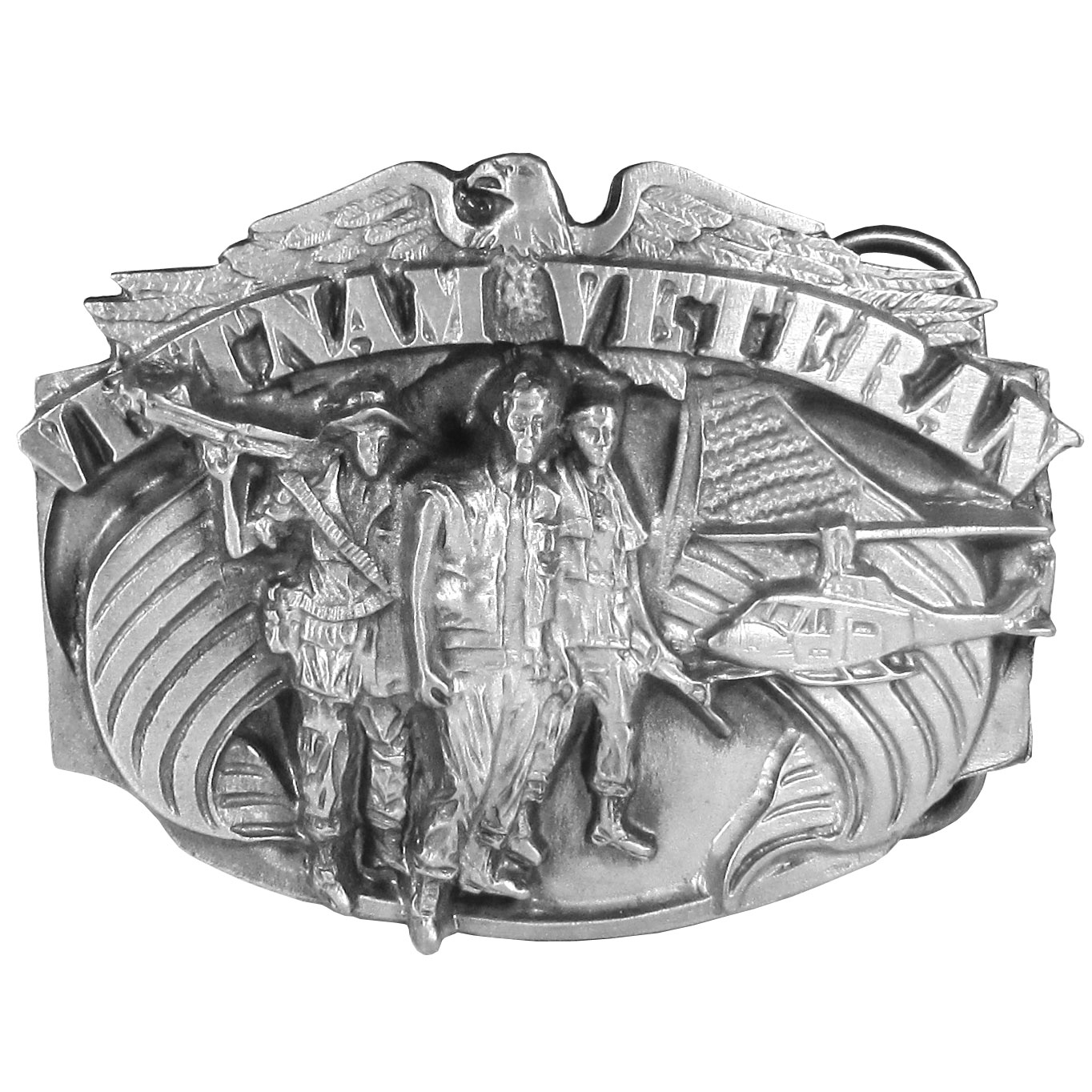 "Vietnam Veteran Antiqued Belt Buckle - ""This buckle has the words """"Vietnam Veteran"""" written across the top with three soldiers, a helicopter, an eagle and two American flags. On the back are the words """"The Forgotten Warrior"""". This exquisitely carved buckle is made of fully cast metal with a standard bale that fits up to 2"""" belts. Siskiyou's unique buckle designs often become collectors items and are unequaled with the best craftsmanship."""
