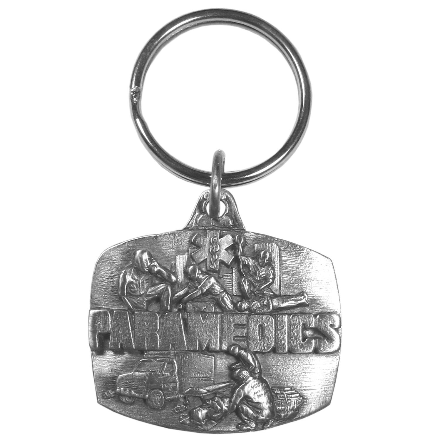 "Paramedic Key Ring Plain - ""This key chain is for the Paramedic, it has an emergency vehicle, Paramedics tending to patients and and on the top is the Star of Life. On the back are the words """"First On The Scene"""". Key chain is 1-1/2"""" x 1-1/4""""."""