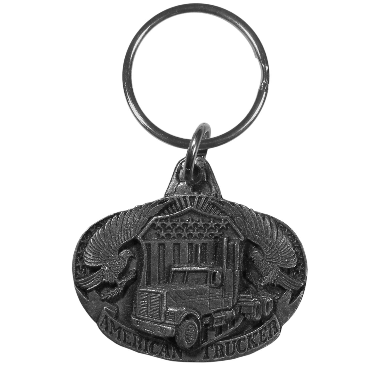 American Trucker Antiqued Key Chain - Celebrate a proud American industry with this trucker keyring. Our unique key chains are fully cast metal fobs with exceptional carved detail. Since these key rings are fully metal they stand up the rigorous day to day use and will keep looking great for years to come. The original designs are a great way to express your personal style while keeping your house and auto keys organized.
