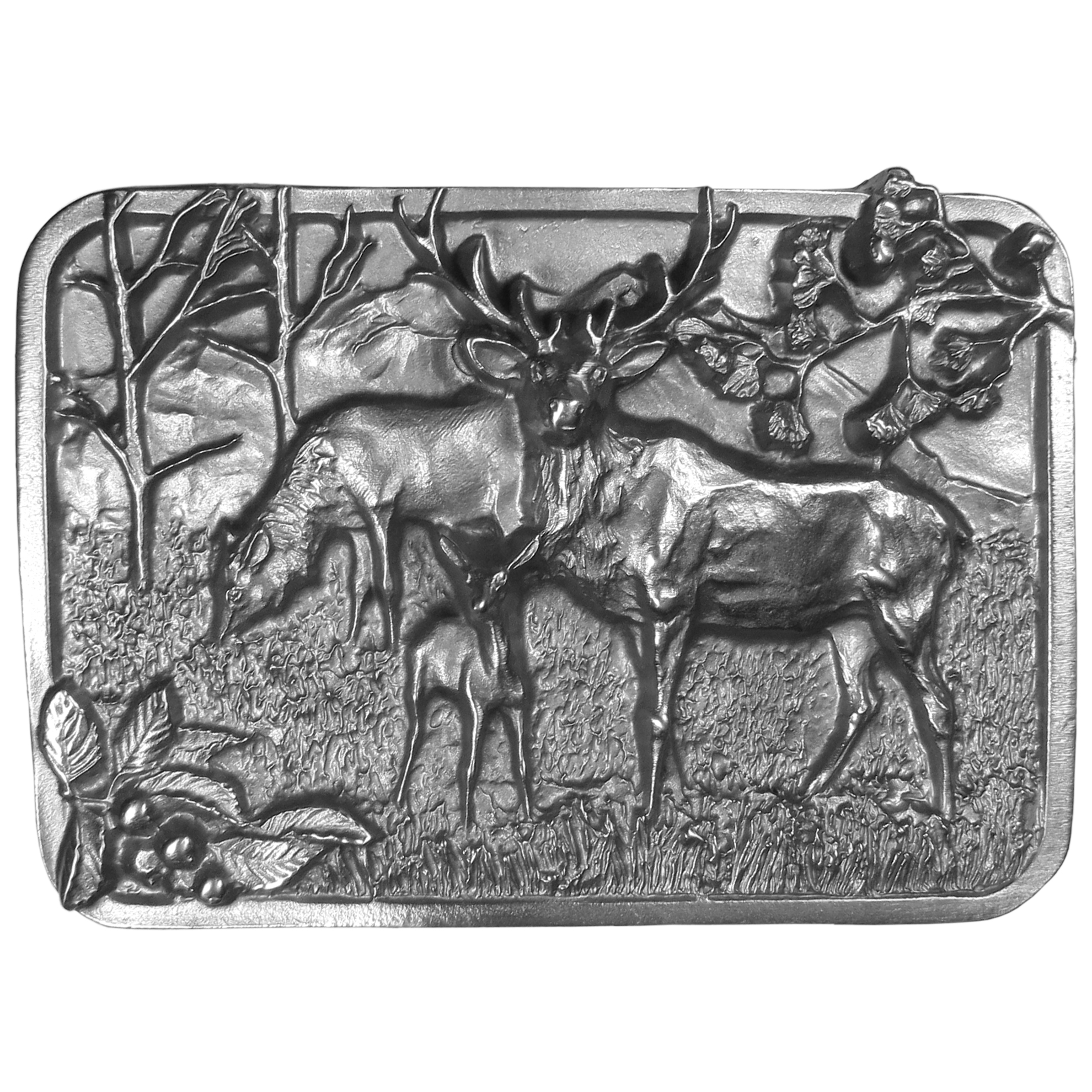 """Elk Antiqued Belt Buckle - """"A beautifully designed image of 3 elk, a bull, a cow and a calf, are the highlight of this antiqued buckle. Other images include the mountains, field, trees, flowers and berries. This exquisite carved buckle is made of fully cast metal with a standard bale that fits up to 2"""""""" belts. Siskiyou's unique buckle designs often become collector's items and are unequaled in craftsmanship. Made in the USA."""""""