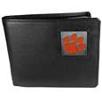 Clemson Tigers Leather Bi-fold Wallet Packaged in Gift Box