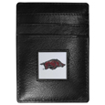 Arkansas Razorbacks Leather Money Clip/Cardholder Packaged in Gift Box