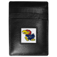 Kansas Jayhawks Leather Money Clip/Cardholder Packaged in Gift Box