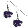 Kansas St. Wildcats Dangle Earrings - Every woman has her favorite pair of earrings. Mmake our most popular Kansas St. Wildcats Dangle Earrings every woman's favorite earrings. Our officially licensed Kansas St. Wildcats zinc dangle earrings are beautifully detailed with hand colored enamel team logos that define these classic dangle earrings. They add the perfect touch of spirit to any game day or every day outfit. The earrings have a high polish nickel free chrome finish and hypoallergenic fishhook posts.