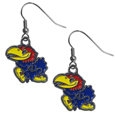 Kansas Jayhawks Dangle Earrings - Make our most popular Kansas Jayhawks Dangle Earrings every woman's favorite earrings. Our officially licensed Kansas Jayhawks zinc dangle earrings are beautifully detailed with hand colored enamel team logos that define these classic dangle earrings. They add the perfect touch of spirit to any game day or every day outfit. The earrings have a high polish nickel free chrome finish and hypoallergenic fishhook posts.