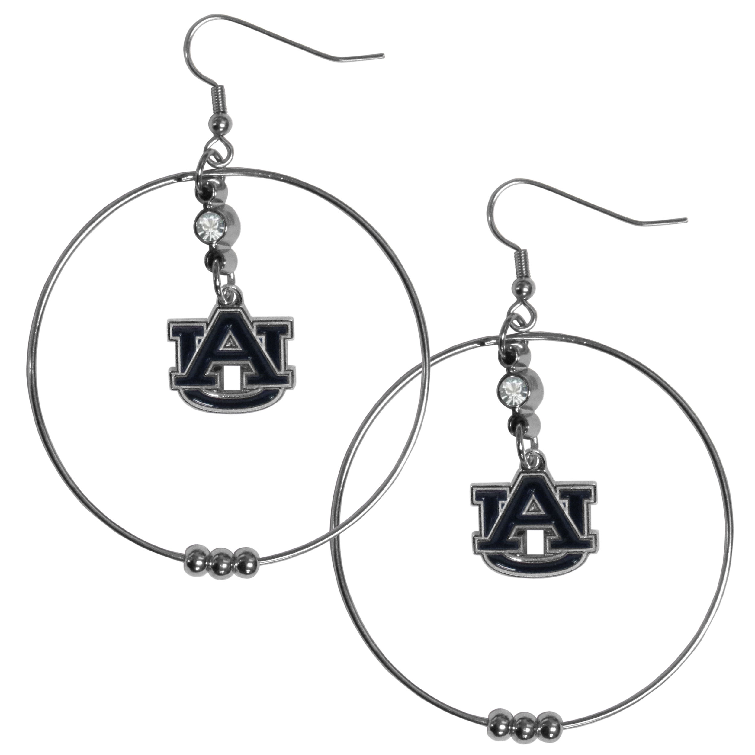 """Auburn Tigers 2"""" Hoop Earrings"""" - Our officially licensed college 2"""" hoop earrings have a fully cast and enameled Auburn Tigers emblem with enameled detail and a high polish nickel free chrome finish and rhinestone accent. Hypoallergenic fishhook posts."""""""