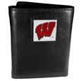 Wisconsin Badgers Deluxe Leather Tri-fold Wallet Packaged in Gift Box