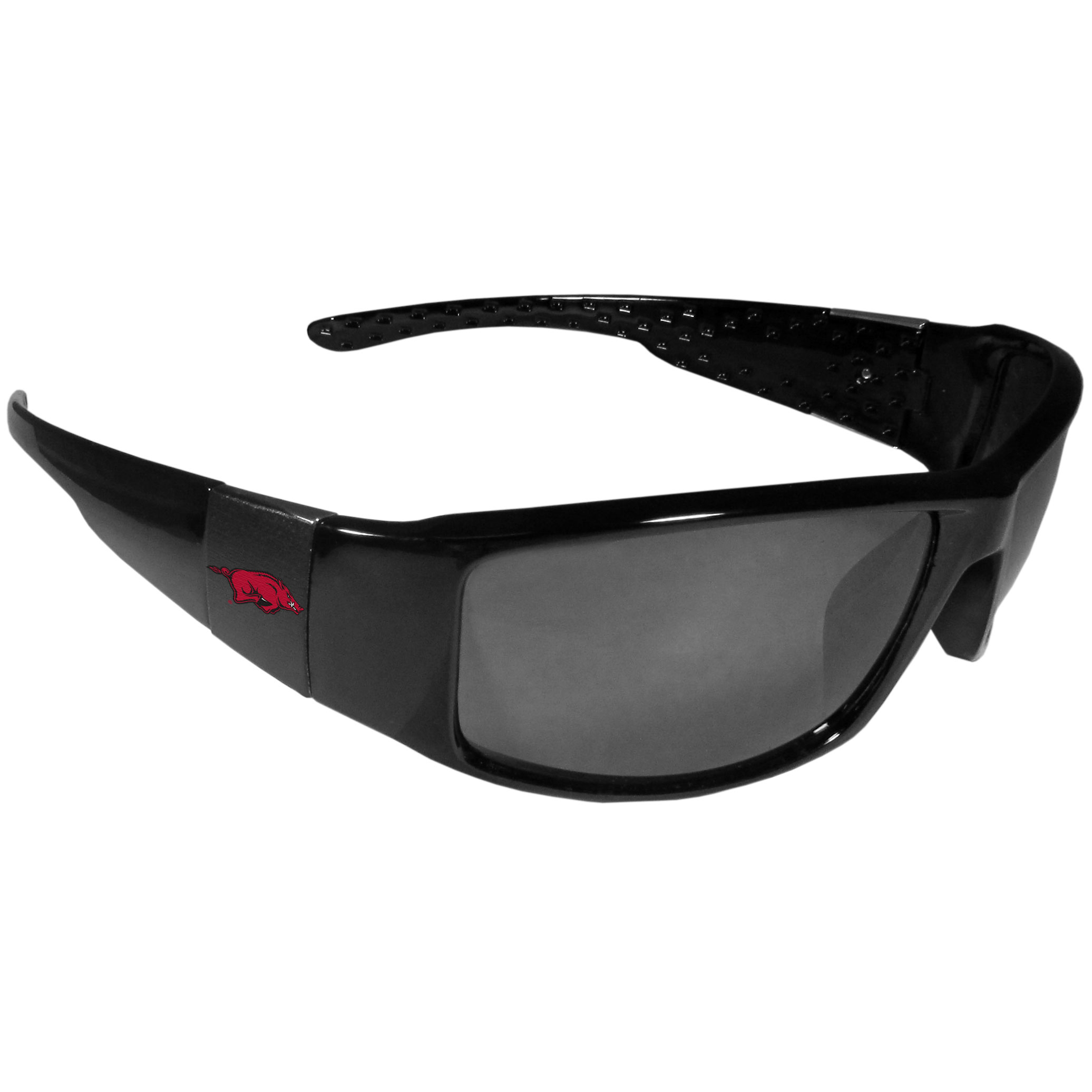 Arkansas Razorbacks Black Wrap Sunglasses - These designer inspired frames have a sleek look in all black with  Arkansas Razorbacks shields on each arm with a printed logo. The shades are perfect for any outdoor activity like; golfing, driving, hiking, fishing or cheering on the team at a tailgating event or at a home game day BBQ with a lens rating of 100% UVA/UVB for maximum UV protection. The high-quality frames are as durable as they are fashionable and with their classic look they are the perfect fan accessory that can be worn everyday for every occasion.