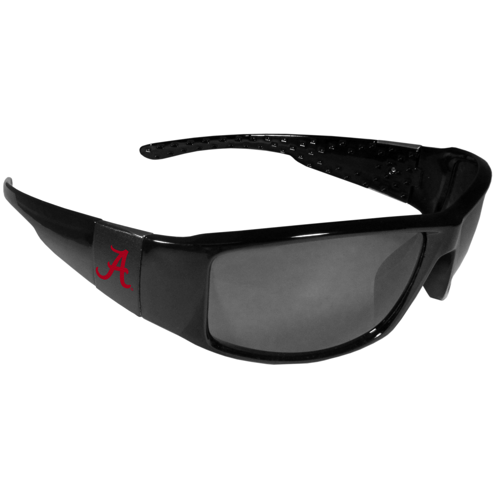 Alabama Crimson Tide Black Wrap Sunglasses - These designer inspired frames have a sleek look in all black with  Alabama Crimson Tide shields on each arm with a printed logo. The shades are perfect for any outdoor activity like; golfing, driving, hiking, fishing or cheering on the team at a tailgating event or at a home game day BBQ with a lens rating of 100% UVA/UVB for maximum UV protection. The high-quality frames are as durable as they are fashionable and with their classic look they are the perfect fan accessory that can be worn everyday for every occasion.