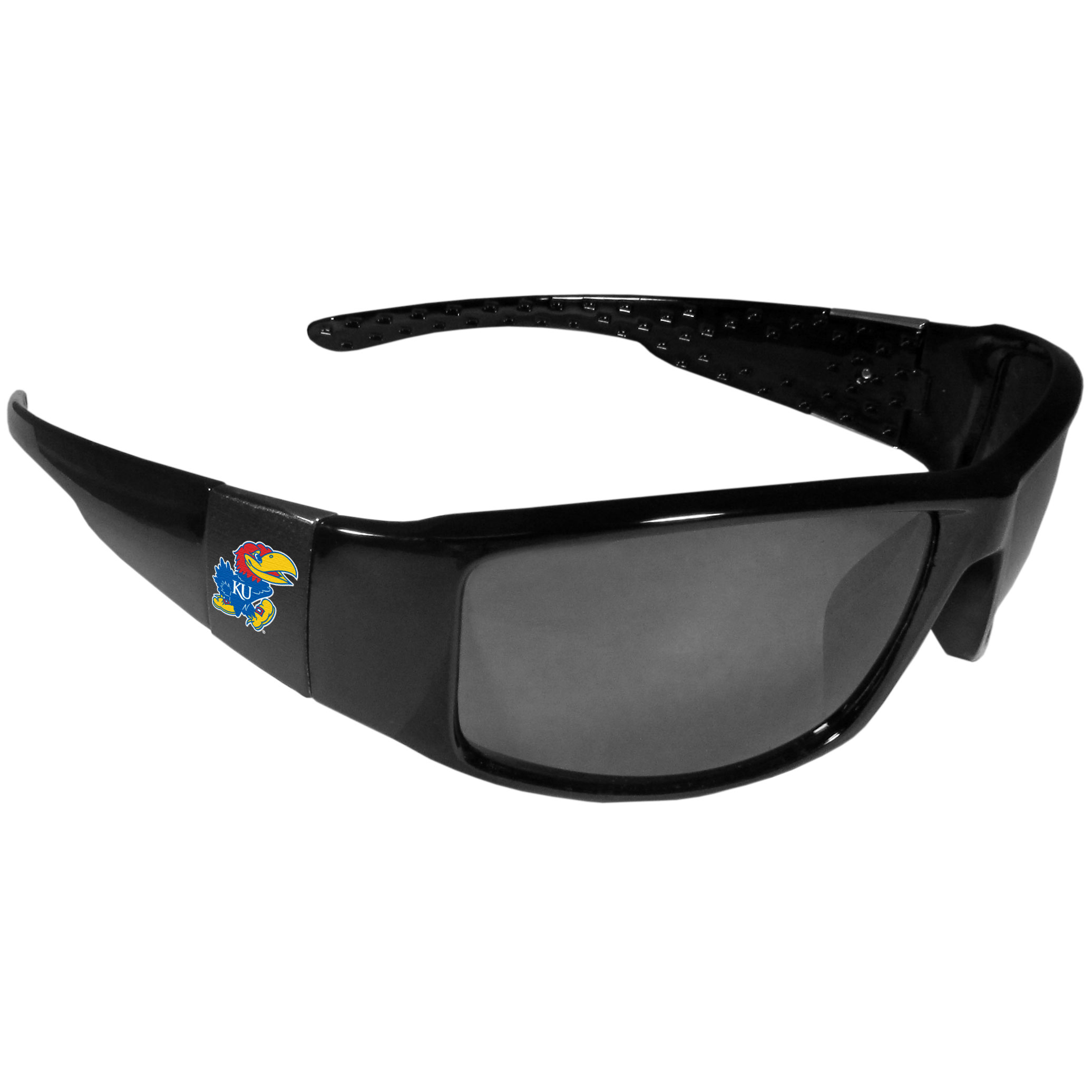 Kansas Jayhawks Black Wrap Sunglasses - These designer inspired frames have a sleek look in all black with  Kansas Jayhawks shields on each arm with a printed logo. The shades are perfect for any outdoor activity like; golfing, driving, hiking, fishing or cheering on the team at a tailgating event or at a home game day BBQ with a lens rating of 100% UVA/UVB for maximum UV protection. The high-quality frames are as durable as they are fashionable and with their classic look they are the perfect fan accessory that can be worn everyday for every occasion.