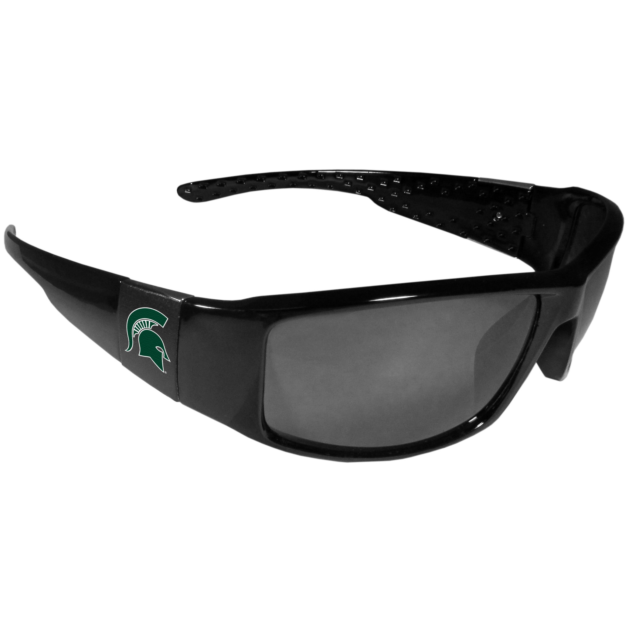 Michigan St. Spartans Black Wrap Sunglasses - These designer inspired frames have a sleek look in all black with  Michigan St. Spartans shields on each arm with a printed logo. The shades are perfect for any outdoor activity like; golfing, driving, hiking, fishing or cheering on the team at a tailgating event or at a home game day BBQ with a lens rating of 100% UVA/UVB for maximum UV protection. The high-quality frames are as durable as they are fashionable and with their classic look they are the perfect fan accessory that can be worn everyday for every occasion.