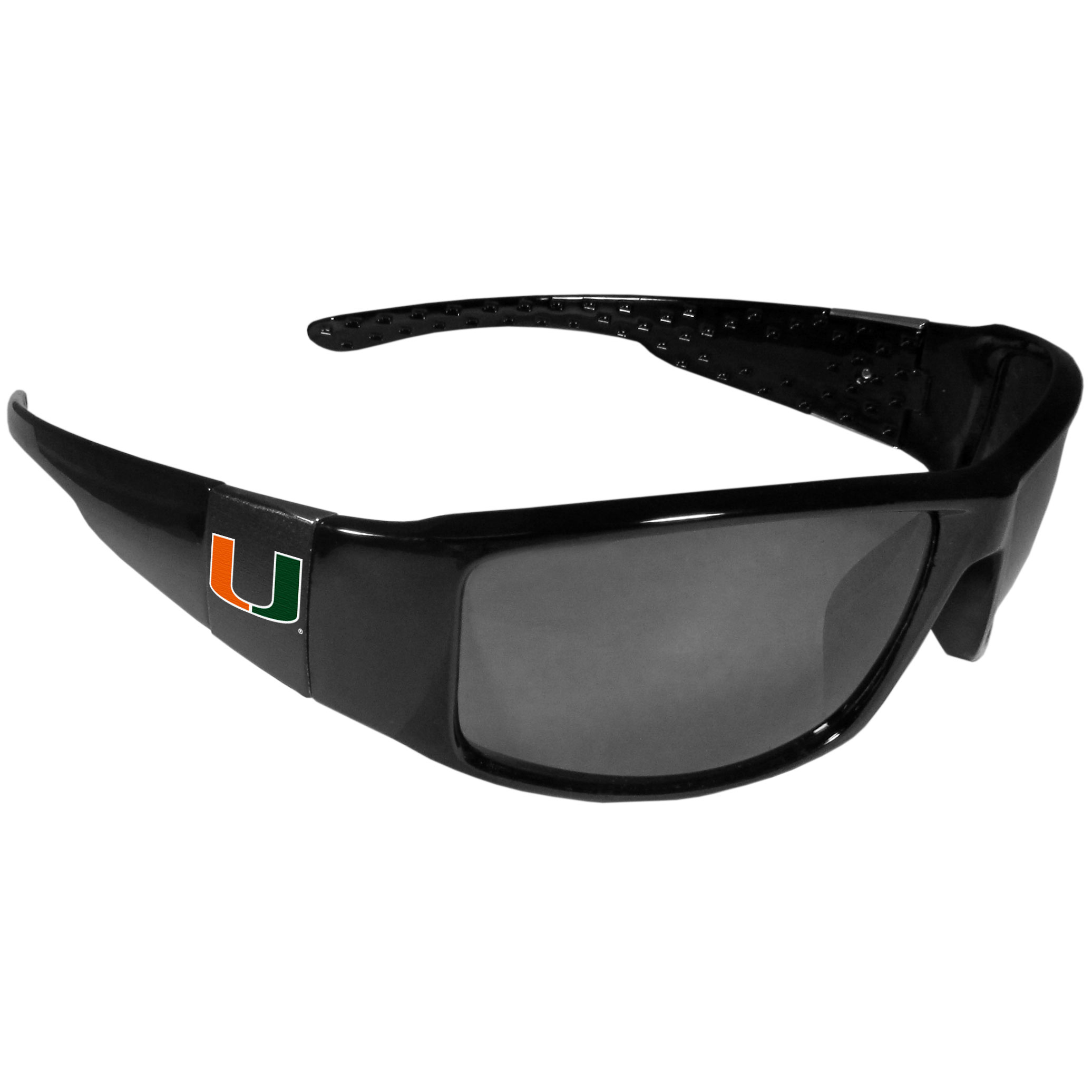 Miami Hurricanes Black Wrap Sunglasses - These designer inspired frames have a sleek look in all black with  Miami Hurricanes shields on each arm with a printed logo. The shades are perfect for any outdoor activity like; golfing, driving, hiking, fishing or cheering on the team at a tailgating event or at a home game day BBQ with a lens rating of 100% UVA/UVB for maximum UV protection. The high-quality frames are as durable as they are fashionable and with their classic look they are the perfect fan accessory that can be worn everyday for every occasion.