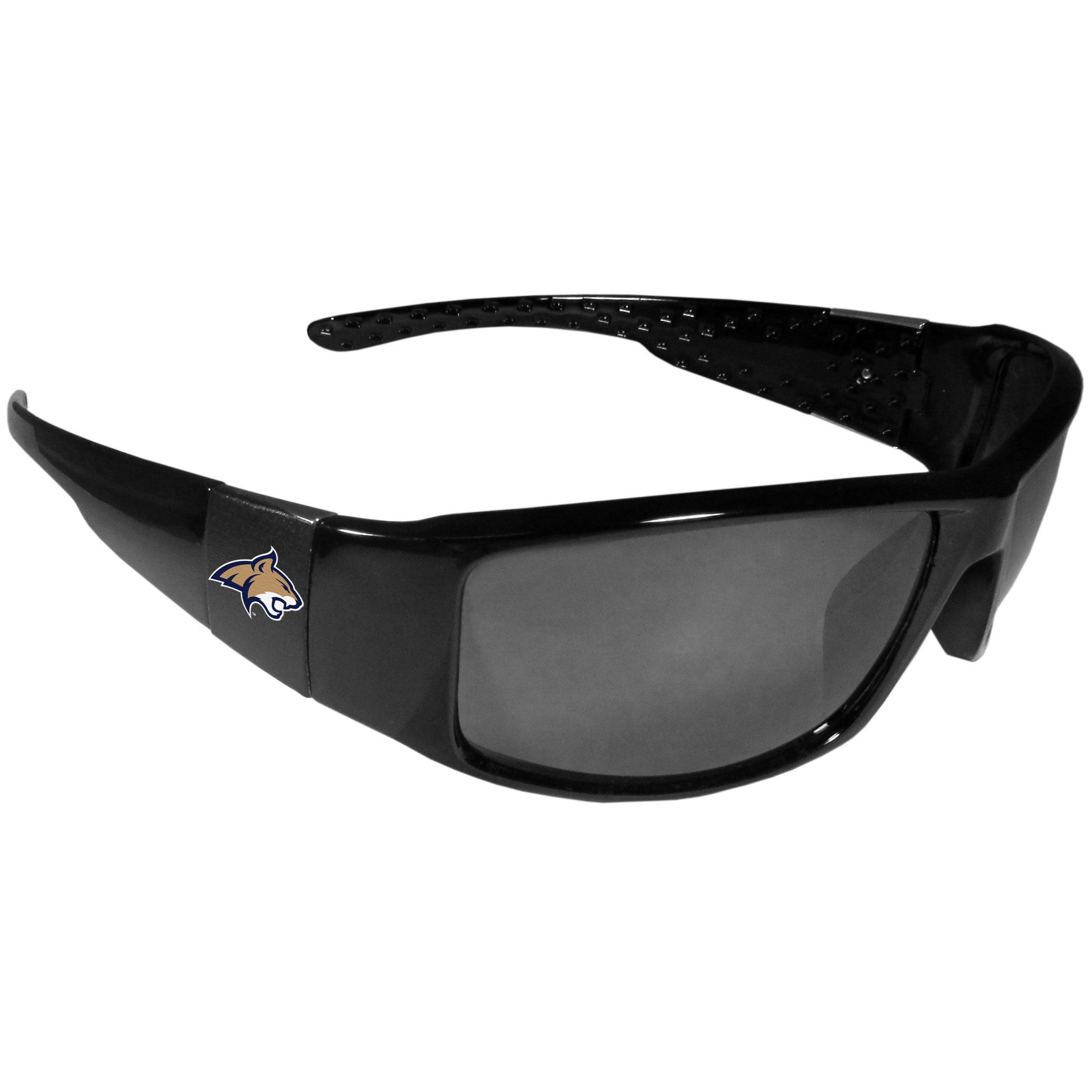 Montana St. Bobcats Black Wrap Sunglasses - These designer inspired frames have a sleek look in all black with  Montana St. Bobcats shields on each arm with a printed logo. The shades are perfect for any outdoor activity like; golfing, driving, hiking, fishing or cheering on the team at a tailgating event or at a home game day BBQ with a lens rating of 100% UVA/UVB for maximum UV protection. The high-quality frames are as durable as they are fashionable and with their classic look they are the perfect fan accessory that can be worn everyday for every occasion.