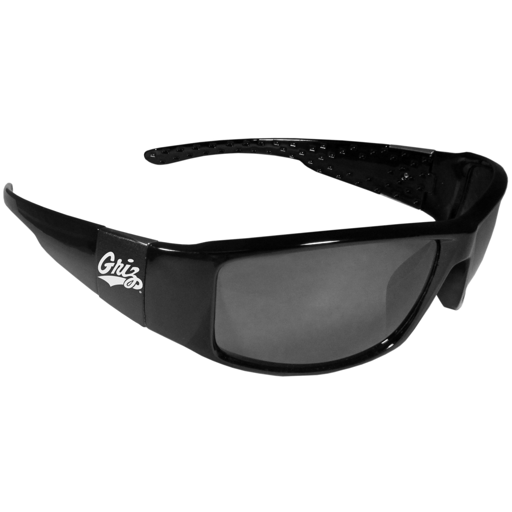 Montana Grizzlies Black Wrap Sunglasses - These designer inspired frames have a sleek look in all black with  Montana Grizzlies shields on each arm with a printed logo. The shades are perfect for any outdoor activity like; golfing, driving, hiking, fishing or cheering on the team at a tailgating event or at a home game day BBQ with a lens rating of 100% UVA/UVB for maximum UV protection. The high-quality frames are as durable as they are fashionable and with their classic look they are the perfect fan accessory that can be worn everyday for every occasion.