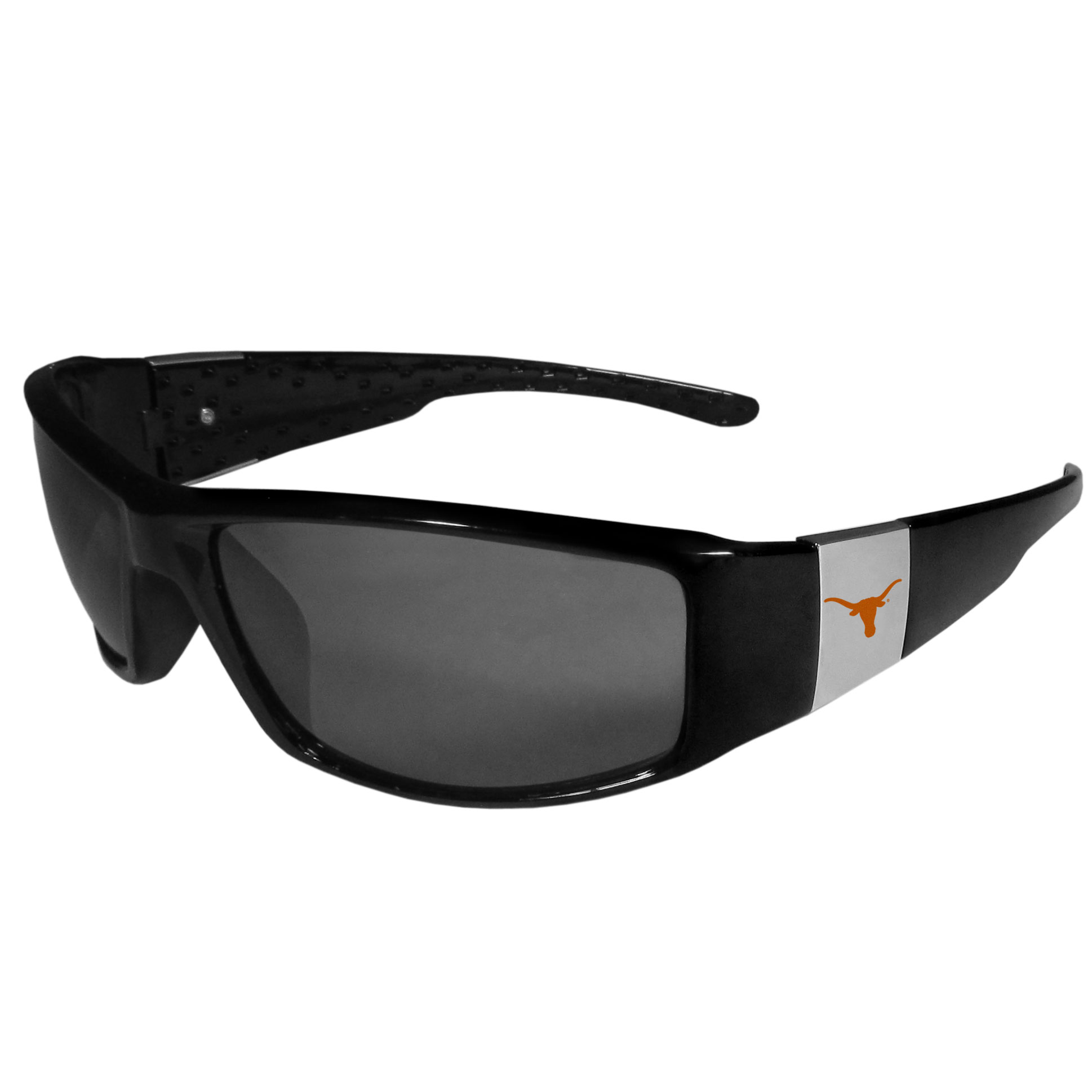 Texas Longhorns Chrome Wrap Sunglasses - These designer inspired frames have a sleek look in all black with high-polish chrome Texas Longhorns shields on each arm with a printed logo. The shades are perfect for any outdoor activity like; golfing, driving, hiking, fishing or cheering on the team at a tailgating event or at a home game day BBQ with a lens rating of 100% UVA/UVB for maximum UV protection. The high-quality frames are as durable as they are fashionable and with their classic look they are the perfect fan accessory that can be worn everyday for every occasion.