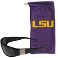 LSU Tigers Chrome Wrap Sunglasses and Bag