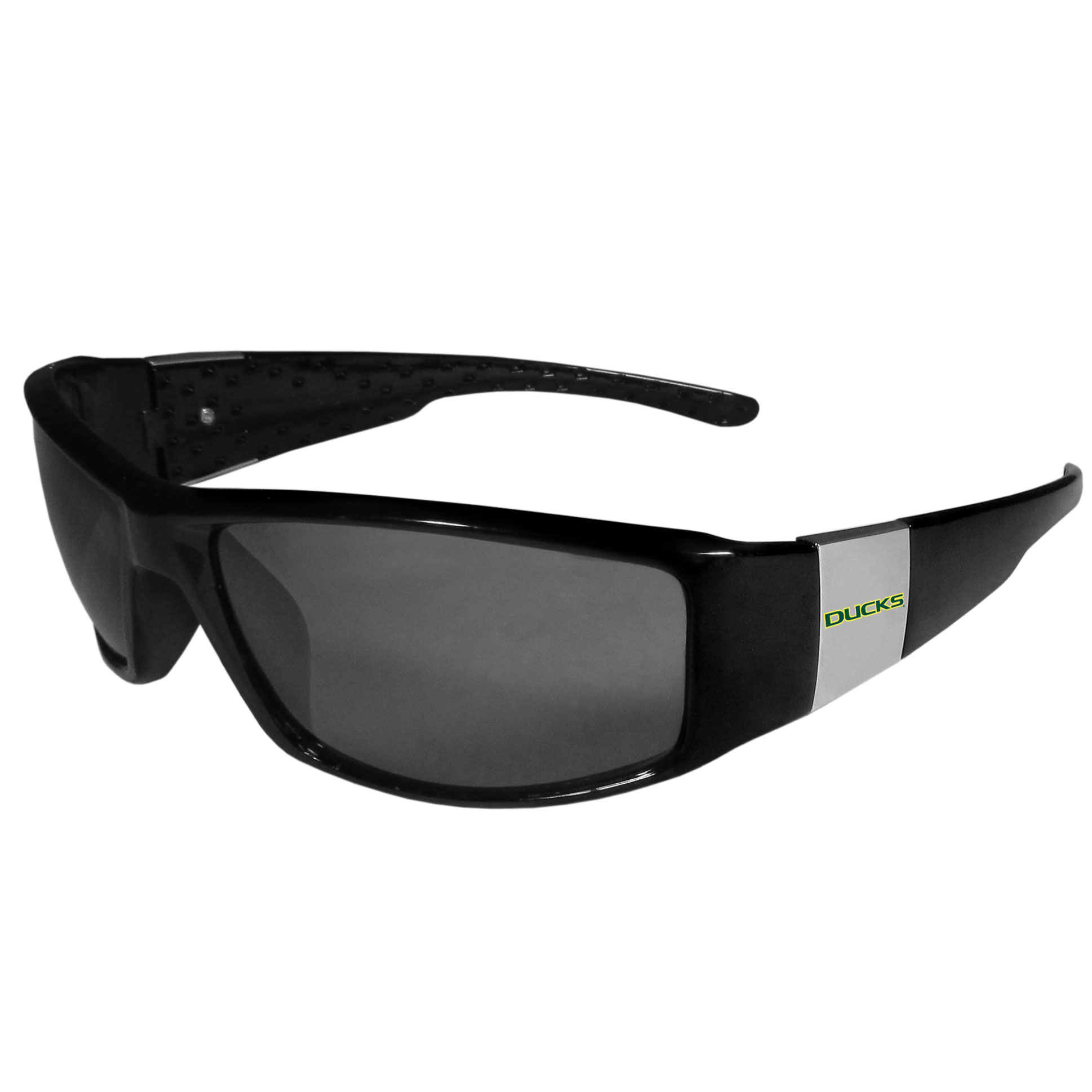 Oregon Ducks Chrome Wrap Sunglasses - These designer inspired frames have a sleek look in all black with high-polish chrome Oregon Ducks shields on each arm with a printed logo. The shades are perfect for any outdoor activity like; golfing, driving, hiking, fishing or cheering on the team at a tailgating event or at a home game day BBQ with a lens rating of 100% UVA/UVB for maximum UV protection. The high-quality frames are as durable as they are fashionable and with their classic look they are the perfect fan accessory that can be worn everyday for every occasion.