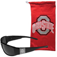 Ohio St. Buckeyes Etched Chrome Wrap Sunglasses and Bag