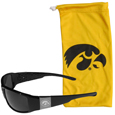 Iowa Hawkeyes Etched Chrome Wrap Sunglasses and Bag