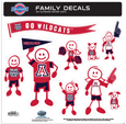 Arizona Wildcats Family Decal Set Large - Show off your team pride with our Arizona Wildcats family automotive decals. The set has individual family themed decals that each feature the team logo. The 11 x 11 inch decal set is made of outdoor rated, repositionable vinyl for durability and easy application.